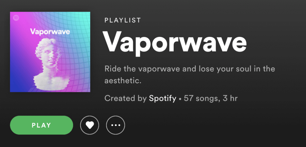 Spotify Vaporwave playlist screecap
